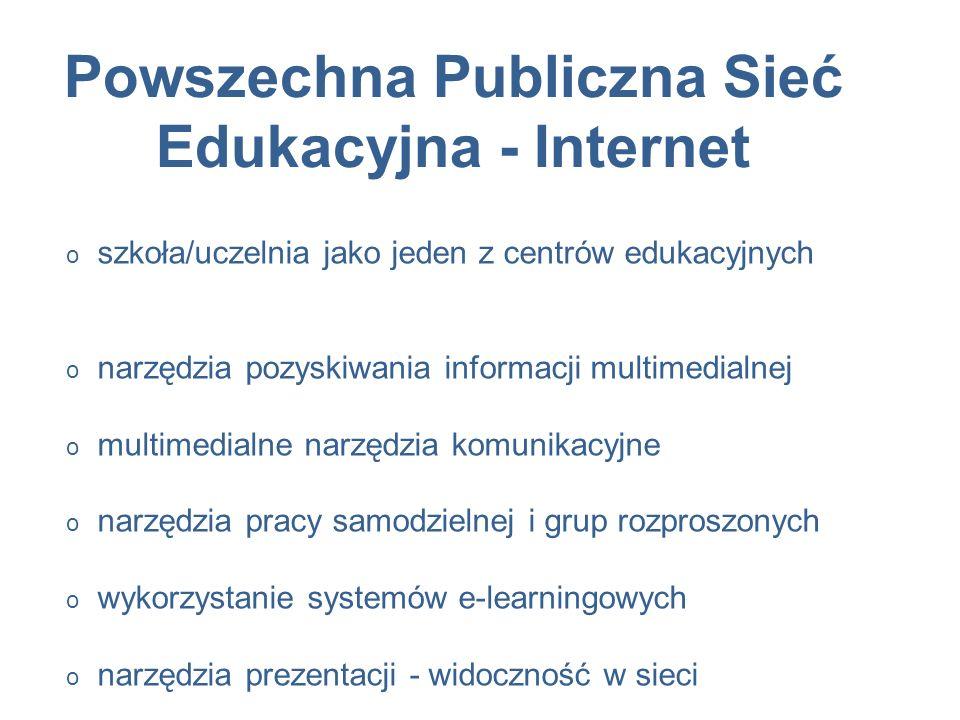 Powszechna Publiczna Sieć Edukacyjna - Internet o szkoła/uczelnia jako jeden z centrów edukacyjnych o narzędzia pozyskiwania informacji multimedialnej o multimedialne narzędzia komunikacyjne o narzędzia pracy samodzielnej i grup rozproszonych o wykorzystanie systemów e-learningowych o narzędzia prezentacji - widoczność w sieci