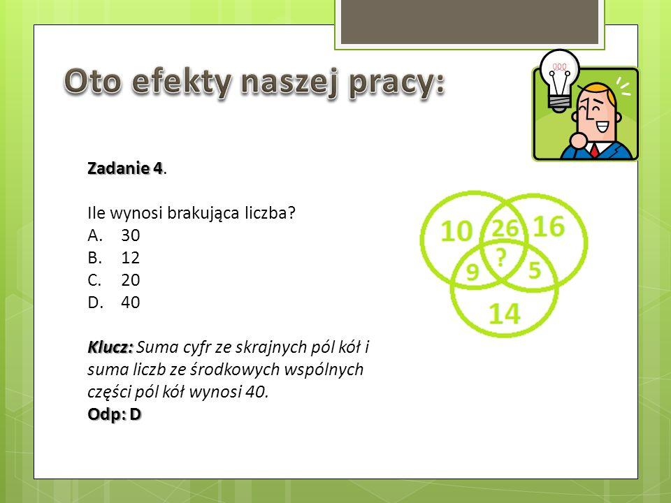 Zadanie 4 Zadanie 4. Ile wynosi brakująca liczba? A.30 B.12 C.20 D.40 Klucz: Klucz: Suma cyfr ze skrajnych pól kół i suma liczb ze środkowych wspólnyc