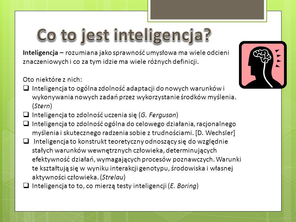 Inteligencja – rozumiana jako sprawność umysłowa ma wiele odcieni znaczeniowych i co za tym idzie ma wiele różnych definicji. Oto niektóre z nich: Int