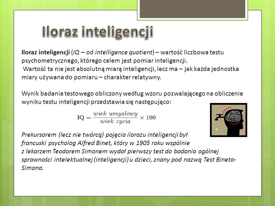 Iloraz inteligencji (IQ – od intelligence quotient) – wartość liczbowa testu psychometrycznego, którego celem jest pomiar inteligencji. Wartość ta nie