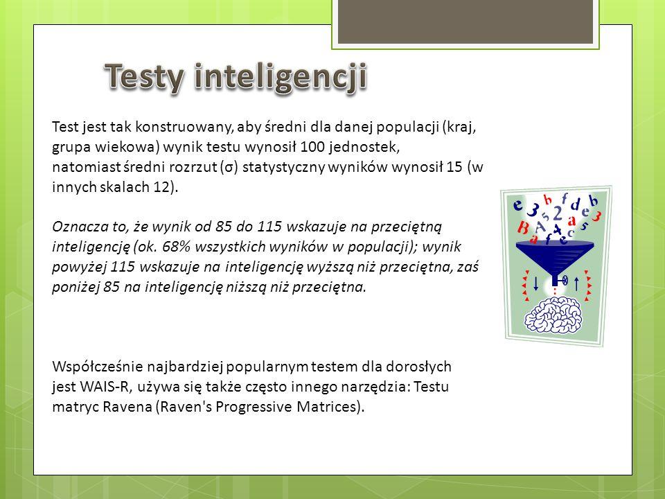 Test jest tak konstruowany, aby średni dla danej populacji (kraj, grupa wiekowa) wynik testu wynosił 100 jednostek, natomiast średni rozrzut (σ) staty
