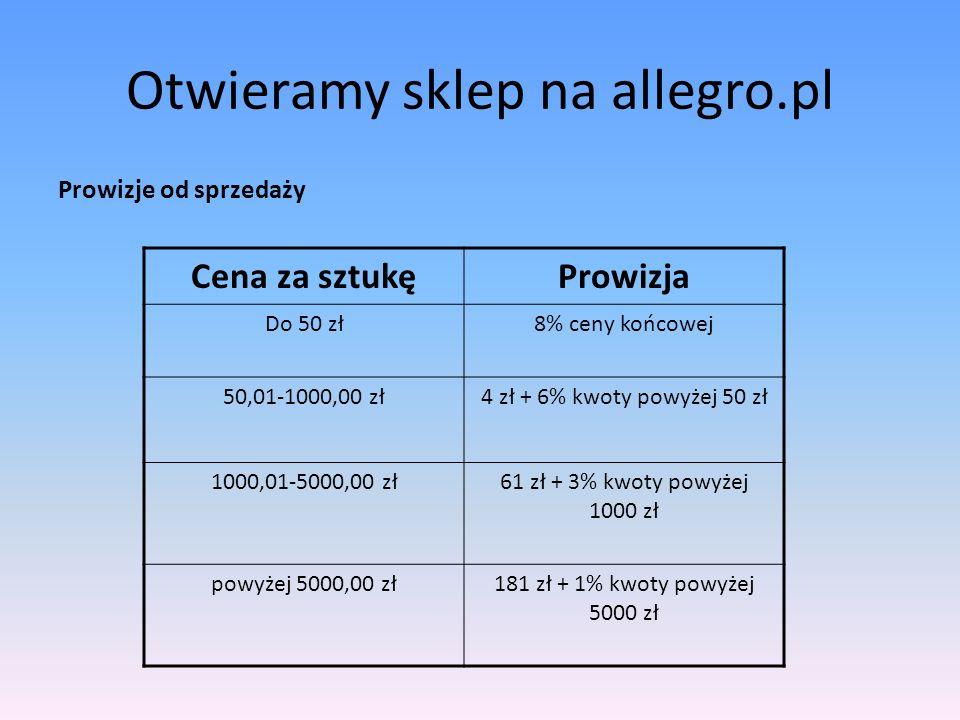 Otwieramy sklep na allegro.pl Na Allegro.pl obowiązują stałe opłaty za wystawienie artykułów.
