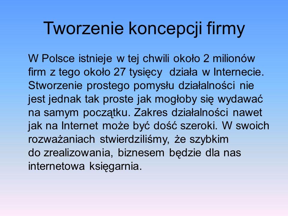 Tworzenie koncepcji firmy W Polsce istnieje w tej chwili około 2 milionów firm z tego około 27 tysięcy działa w Internecie.