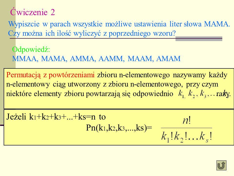 Ćwiczenie 2 Wypiszcie w parach wszystkie możliwe ustawienia liter słowa MAMA. Czy można ich ilość wyliczyć z poprzedniego wzoru? Odpowiedź: MMAA, MAMA