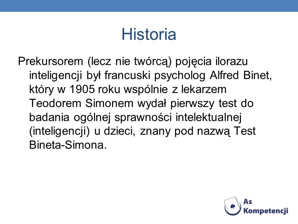 Historia Prekursorem (lecz nie twórcą) pojęcia ilorazu inteligencji był francuski psycholog Alfred Binet, który w 1905 roku wspólnie z lekarzem Teodor