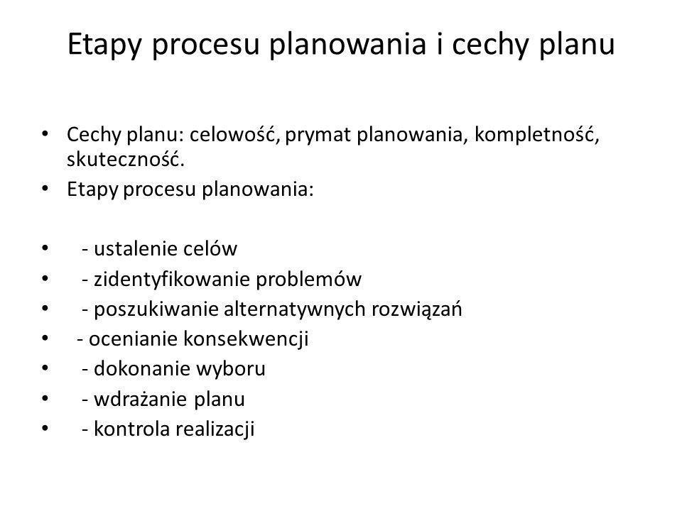 Etapy procesu planowania i cechy planu Cechy planu: celowość, prymat planowania, kompletność, skuteczność. Etapy procesu planowania: - ustalenie celów