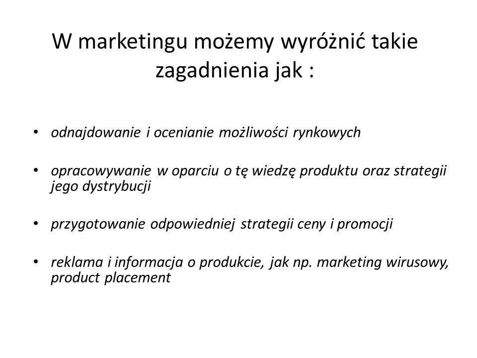W marketingu możemy wyróżnić takie zagadnienia jak : odnajdowanie i ocenianie możliwości rynkowych opracowywanie w oparciu o tę wiedzę produktu oraz s