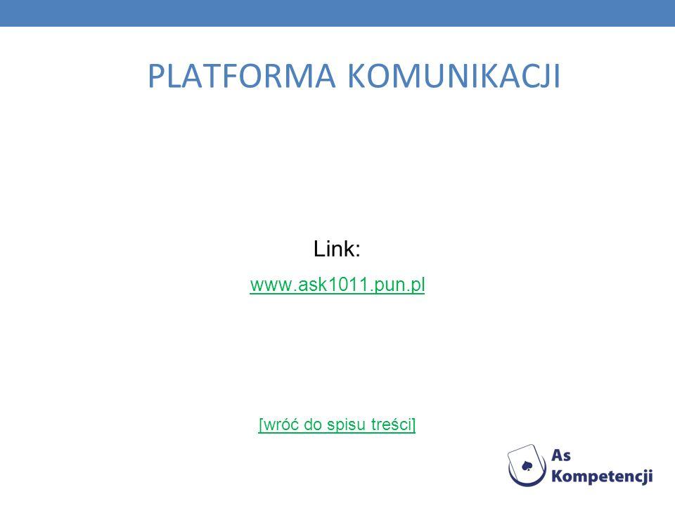 PLATFORMA KOMUNIKACJI Link: www.ask1011.pun.pl [wróć do spisu treści]