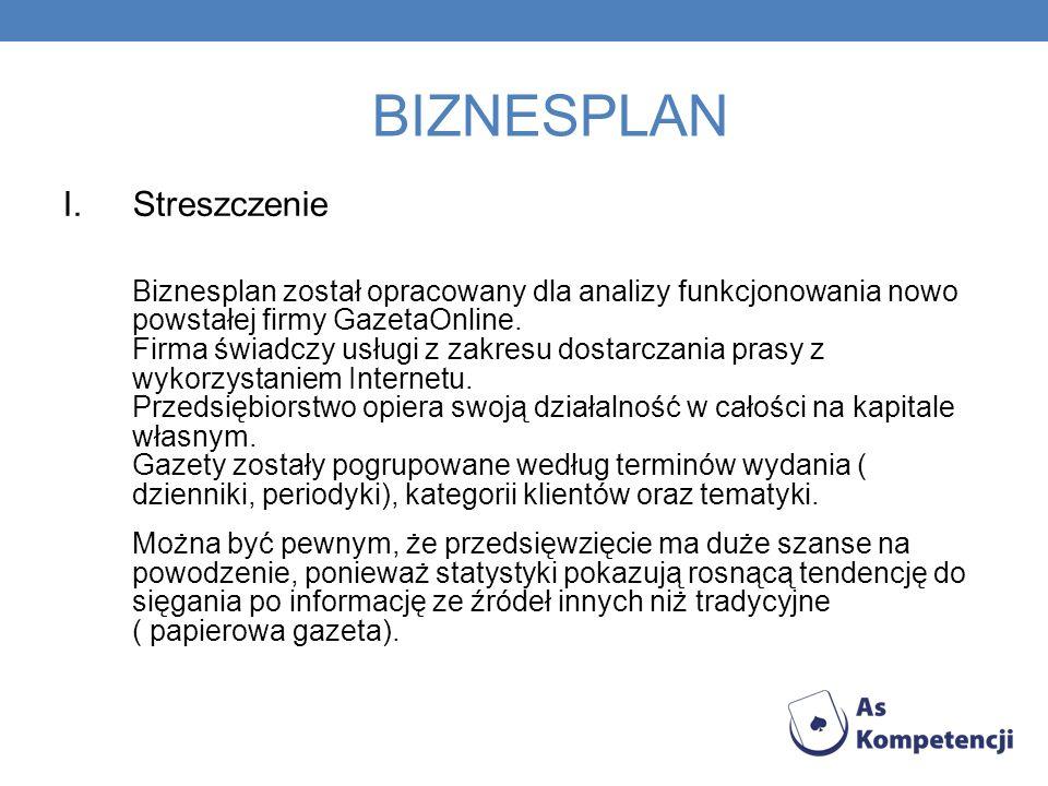 BIZNESPLAN I.Streszczenie Biznesplan został opracowany dla analizy funkcjonowania nowo powstałej firmy GazetaOnline.