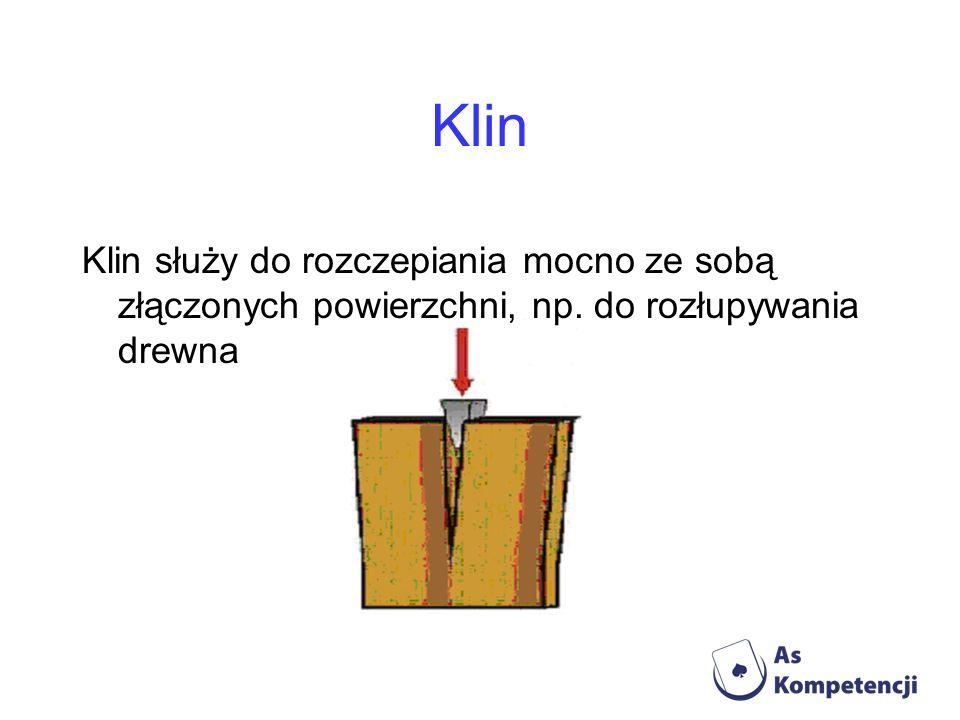 Klin Klin służy do rozczepiania mocno ze sobą złączonych powierzchni, np. do rozłupywania drewna