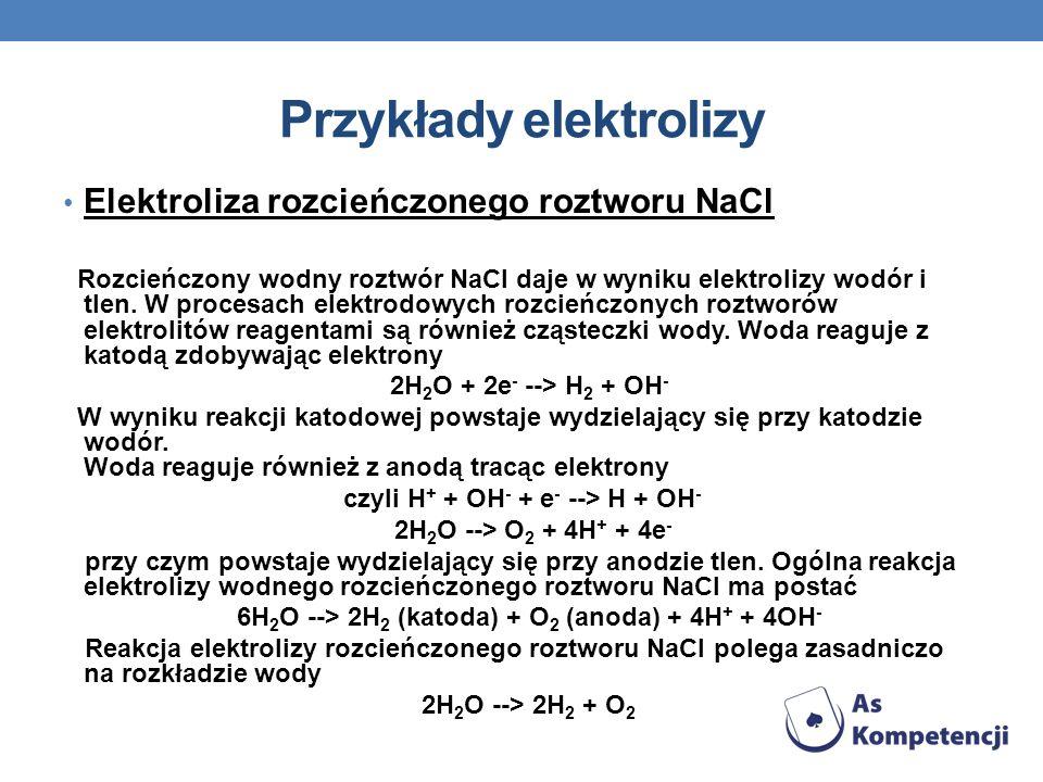 Przykłady elektrolizy Elektroliza rozcieńczonego roztworu NaCl Rozcieńczony wodny roztwór NaCl daje w wyniku elektrolizy wodór i tlen. W procesach ele