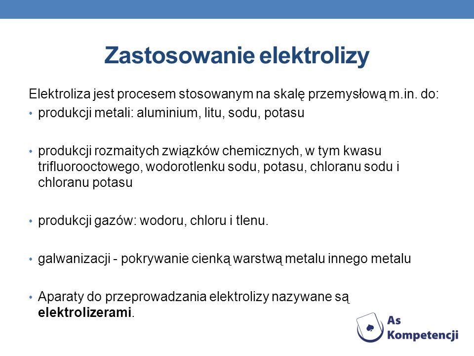 Zastosowanie elektrolizy Elektroliza jest procesem stosowanym na skalę przemysłową m.in. do: produkcji metali: aluminium, litu, sodu, potasu produkcji
