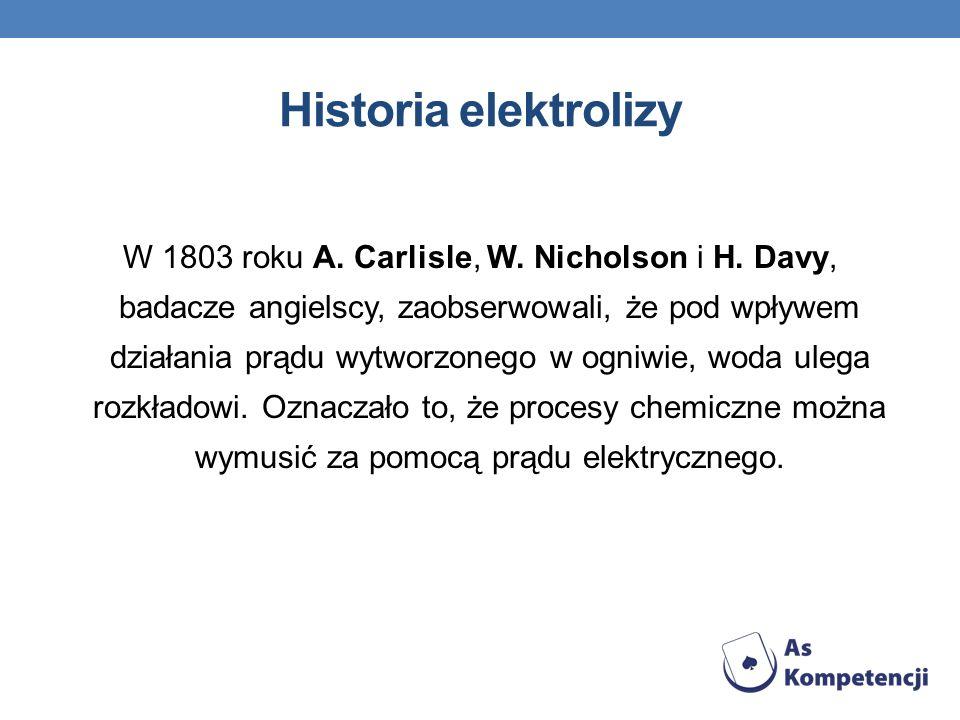 Historia elektrolizy W 1803 roku A. Carlisle, W. Nicholson i H. Davy, badacze angielscy, zaobserwowali, że pod wpływem działania prądu wytworzonego w