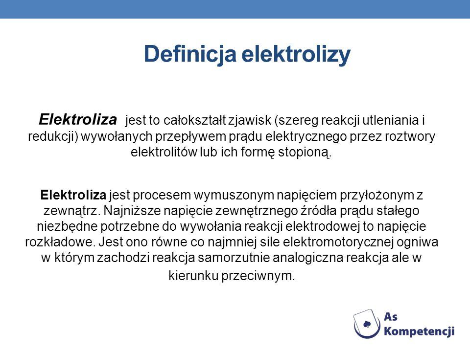 Definicja elektrolizy Elektroliza jest to całokształt zjawisk (szereg reakcji utleniania i redukcji) wywołanych przepływem prądu elektrycznego przez r