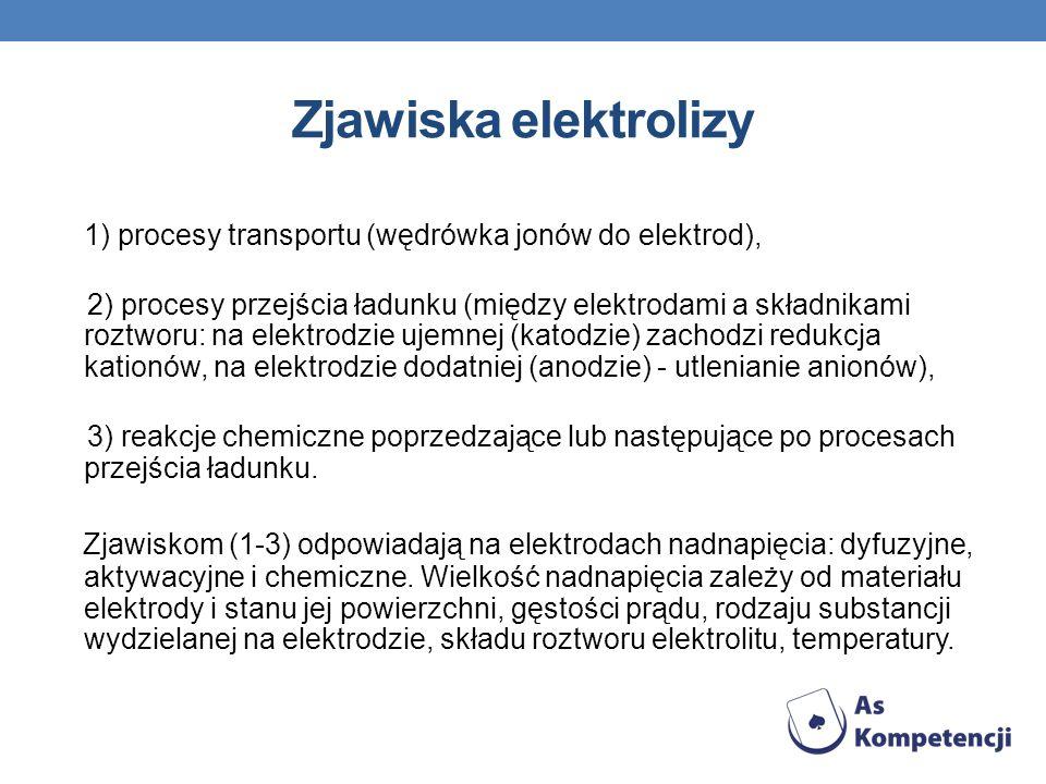 Zjawiska elektrolizy 1) procesy transportu (wędrówka jonów do elektrod), 2) procesy przejścia ładunku (między elektrodami a składnikami roztworu: na e
