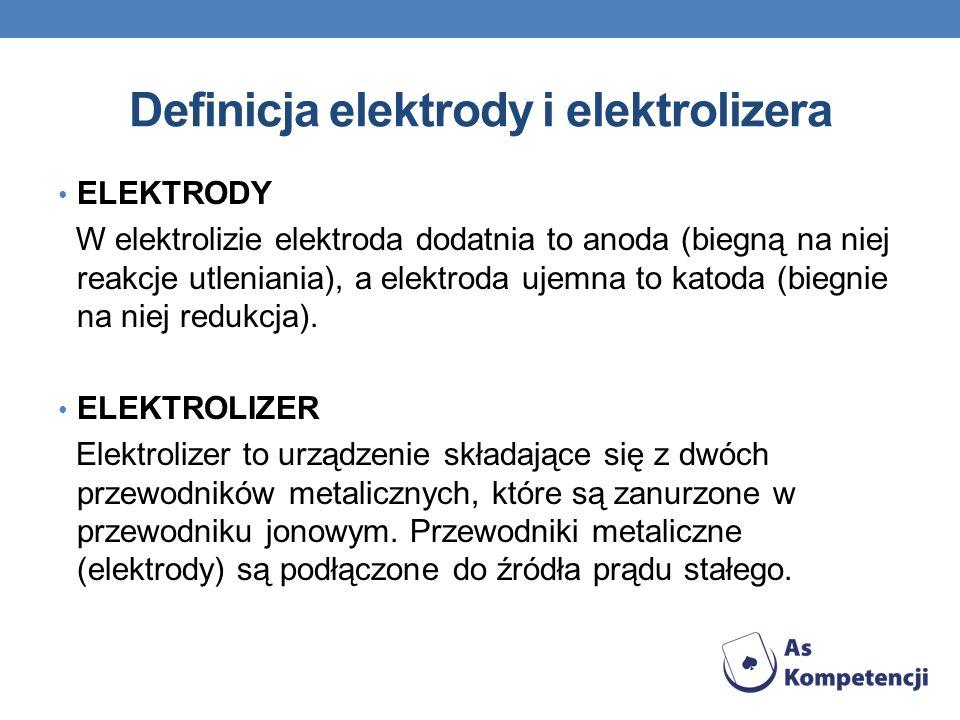 Definicja elektrody i elektrolizera ELEKTRODY W elektrolizie elektroda dodatnia to anoda (biegną na niej reakcje utleniania), a elektroda ujemna to ka