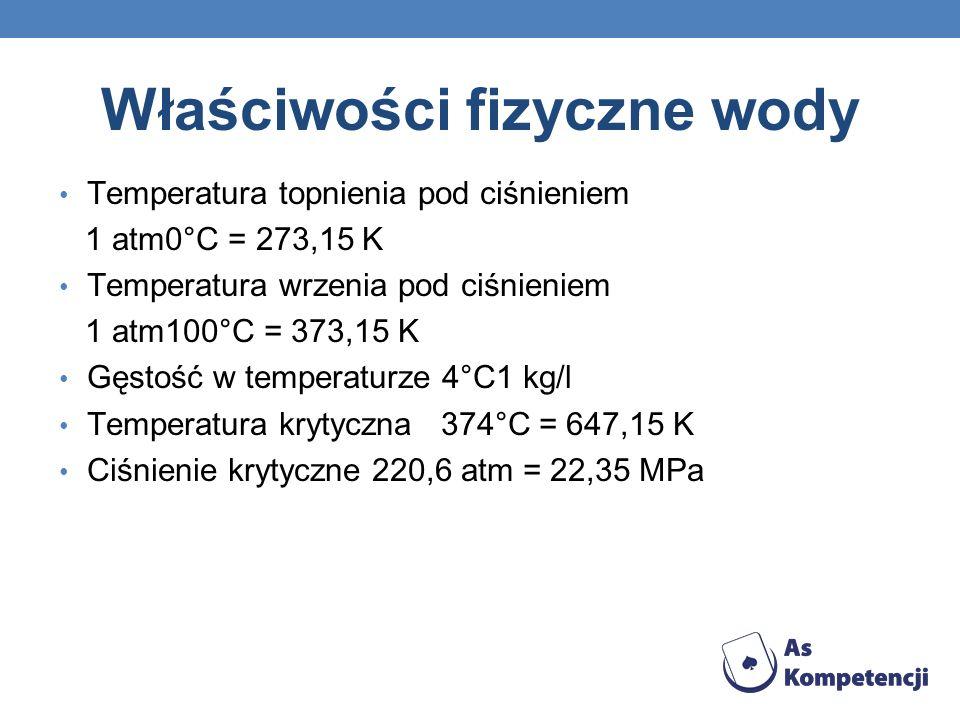 Właściwości fizyczne wody Temperatura topnienia pod ciśnieniem 1 atm0°C = 273,15 K Temperatura wrzenia pod ciśnieniem 1 atm100°C = 373,15 K Gęstość w