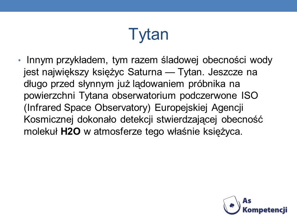 Tytan Innym przykładem, tym razem śladowej obecności wody jest największy księżyc Saturna Tytan. Jeszcze na długo przed słynnym już lądowaniem próbnik