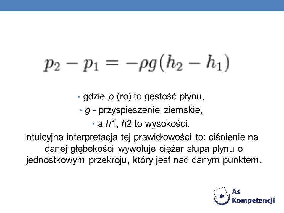 gdzie ρ (ro) to gęstość płynu, g - przyspieszenie ziemskie, a h1, h2 to wysokości. Intuicyjna interpretacja tej prawidłowości to: ciśnienie na danej g