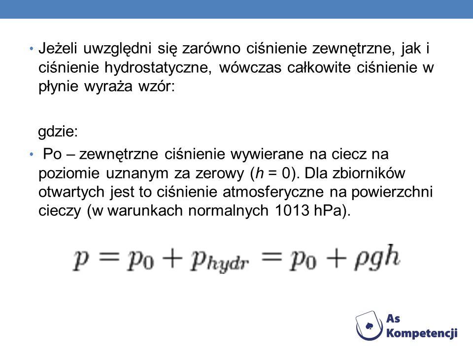 Jeżeli uwzględni się zarówno ciśnienie zewnętrzne, jak i ciśnienie hydrostatyczne, wówczas całkowite ciśnienie w płynie wyraża wzór: gdzie: Po – zewnę