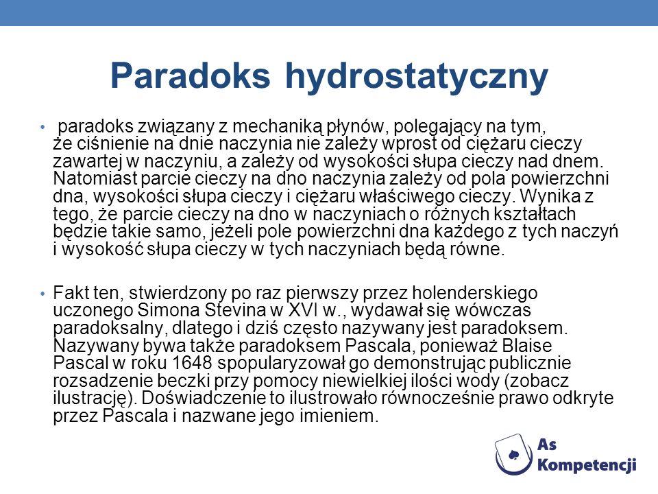 Paradoks hydrostatyczny paradoks związany z mechaniką płynów, polegający na tym, że ciśnienie na dnie naczynia nie zależy wprost od ciężaru cieczy zaw