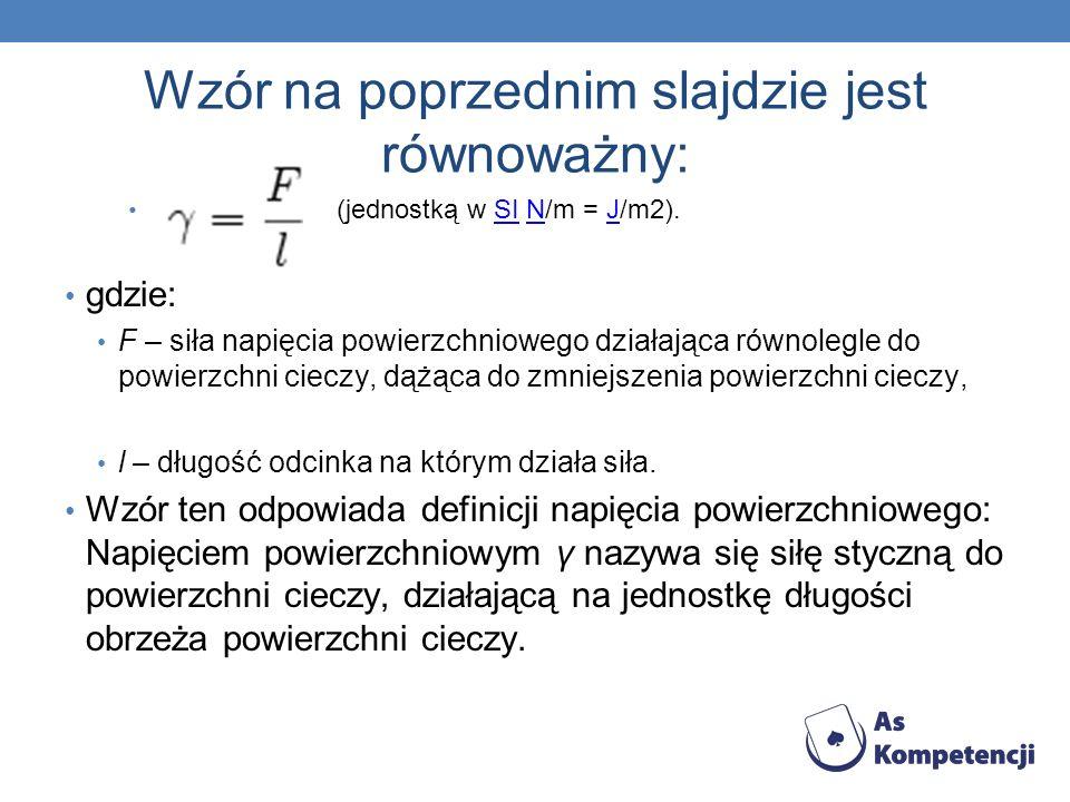 Wzór na poprzednim slajdzie jest równoważny: (jednostką w SI N/m = J/m2).SINJ gdzie: F – siła napięcia powierzchniowego działająca równolegle do powie
