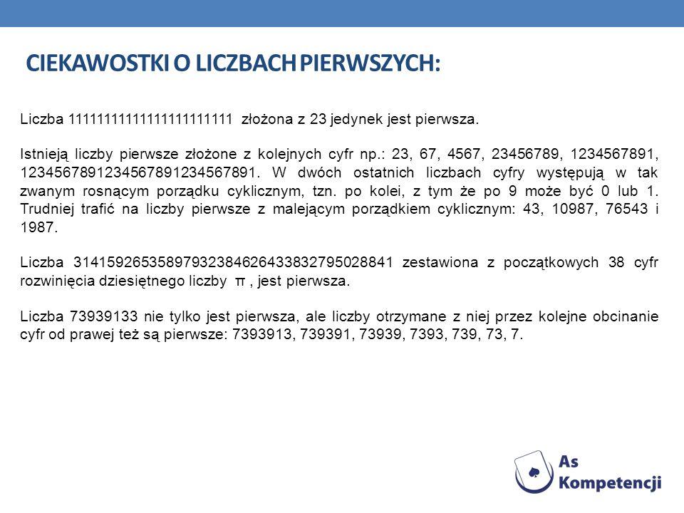 CIEKAWOSTKI O LICZBACH PIERWSZYCH: Liczba 11111111111111111111111 złożona z 23 jedynek jest pierwsza. Istnieją liczby pierwsze złożone z kolejnych cyf