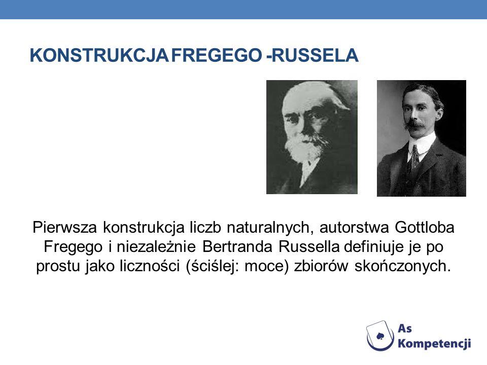 KONSTRUKCJA FREGEGO -RUSSELA Pierwsza konstrukcja liczb naturalnych, autorstwa Gottloba Fregego i niezależnie Bertranda Russella definiuje je po prostu jako liczności (ściślej: moce) zbiorów skończonych.