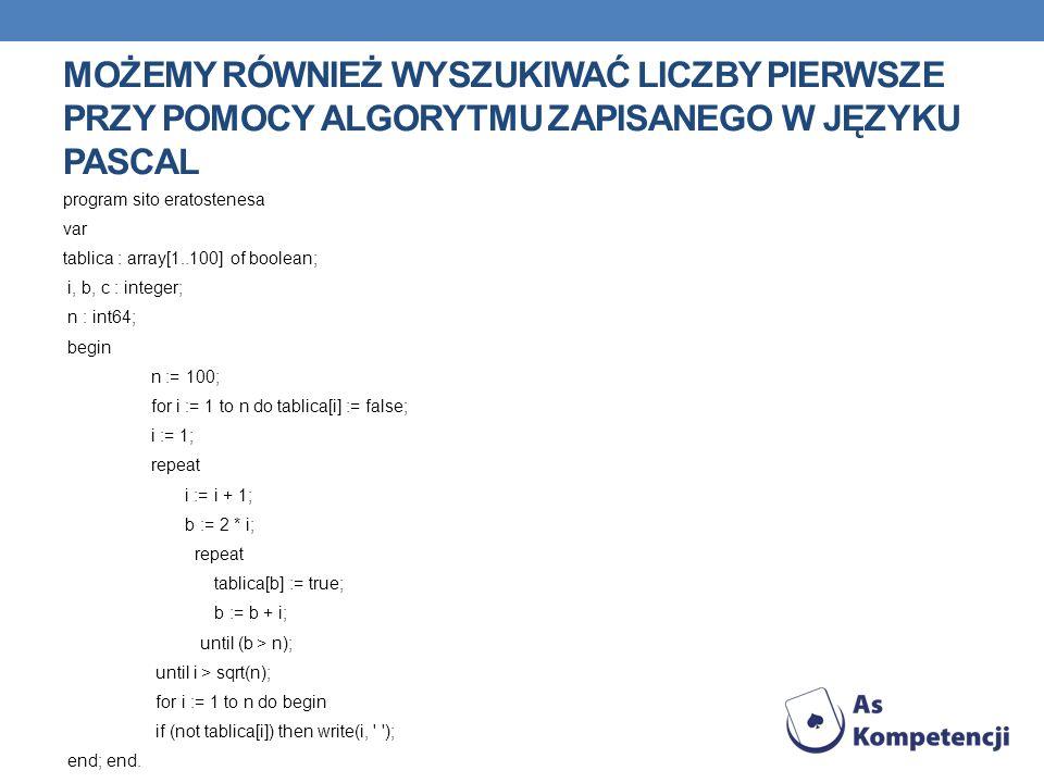 MOŻEMY RÓWNIEŻ WYSZUKIWAĆ LICZBY PIERWSZE PRZY POMOCY ALGORYTMU ZAPISANEGO W JĘZYKU PASCAL program sito eratostenesa var tablica : array[1..100] of boolean; i, b, c : integer; n : int64; begin n := 100; for i := 1 to n do tablica[i] := false; i := 1; repeat i := i + 1; b := 2 * i; repeat tablica[b] := true; b := b + i; until (b > n); until i > sqrt(n); for i := 1 to n do begin if (not tablica[i]) then write(i, ); end; end.