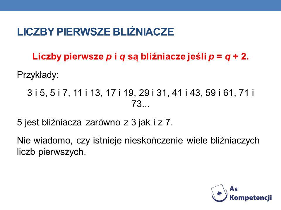 LICZBY PIERWSZE BLIŹNIACZE Liczby pierwsze p i q są bliźniacze jeśli p = q + 2.