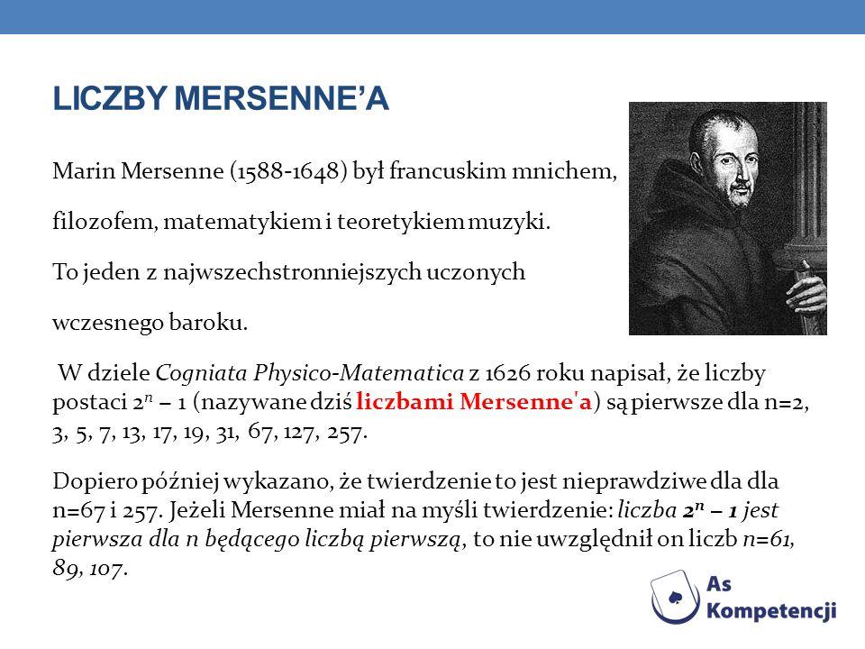 LICZBY MERSENNEA Marin Mersenne (1588-1648) był francuskim mnichem, filozofem, matematykiem i teoretykiem muzyki.