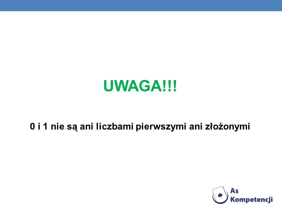 UWAGA!!! 0 i 1 nie są ani liczbami pierwszymi ani złożonymi