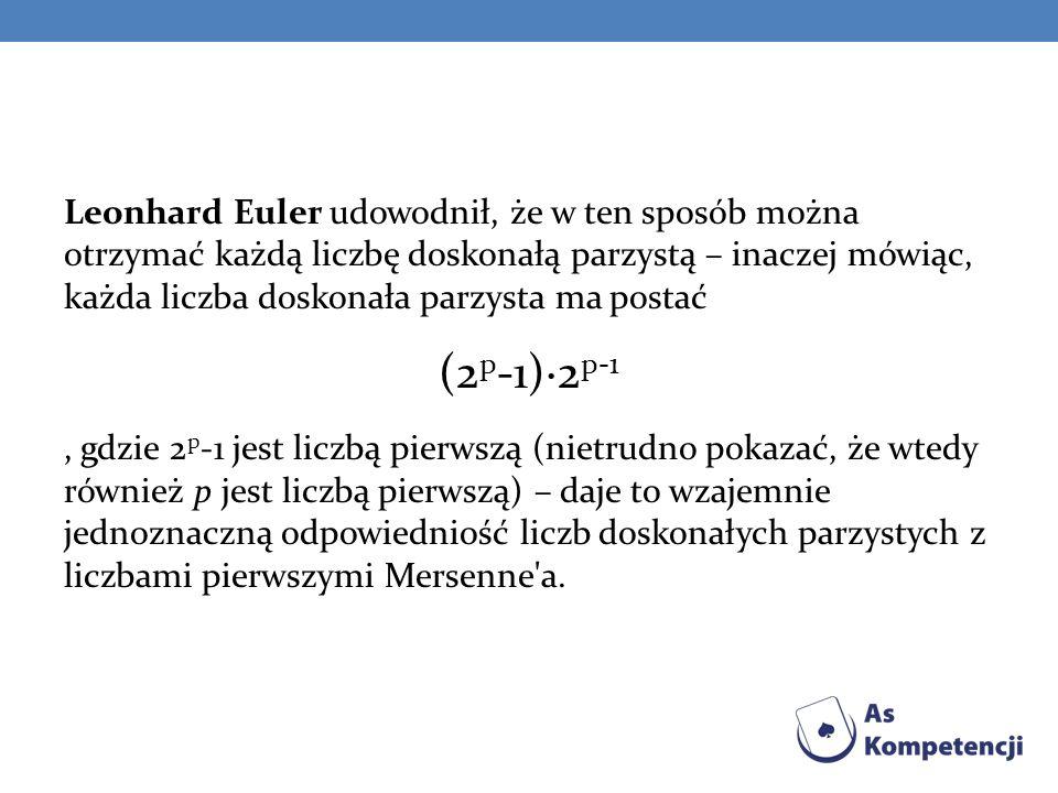 Leonhard Euler udowodnił, że w ten sposób można otrzymać każdą liczbę doskonałą parzystą – inaczej mówiąc, każda liczba doskonała parzysta ma postać (2 p -1)·2 p-1, gdzie 2 p -1 jest liczbą pierwszą (nietrudno pokazać, że wtedy również p jest liczbą pierwszą) – daje to wzajemnie jednoznaczną odpowiedniość liczb doskonałych parzystych z liczbami pierwszymi Mersenne a.