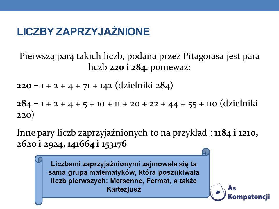 LICZBY ZAPRZYJAŹNIONE Pierwszą parą takich liczb, podana przez Pitagorasa jest para liczb 220 i 284, ponieważ: 220 = 1 + 2 + 4 + 71 + 142 (dzielniki 284) 284 = 1 + 2 + 4 + 5 + 10 + 11 + 20 + 22 + 44 + 55 + 110 (dzielniki 220) Inne pary liczb zaprzyjaźnionych to na przykład : 1184 i 1210, 2620 i 2924, 141664 i 153176 Liczbami zaprzyjaźnionymi zajmowała się ta sama grupa matematyków, która poszukiwała liczb pierwszych: Mersenne, Fermat, a także Kartezjusz