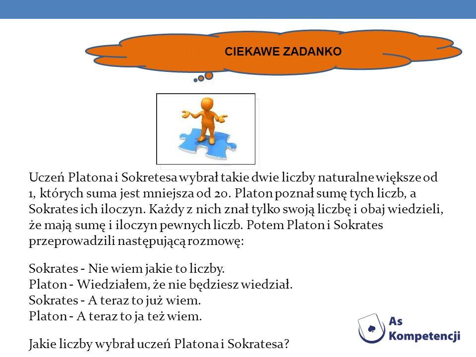 Uczeń Platona i Sokretesa wybrał takie dwie liczby naturalne większe od 1, których suma jest mniejsza od 20.
