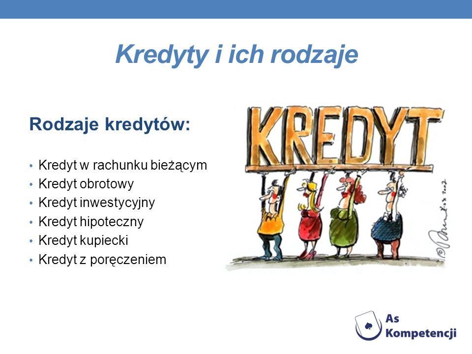 Kredyty i ich rodzaje Rodzaje kredytów: Kredyt w rachunku bieżącym Kredyt obrotowy Kredyt inwestycyjny Kredyt hipoteczny Kredyt kupiecki Kredyt z porę