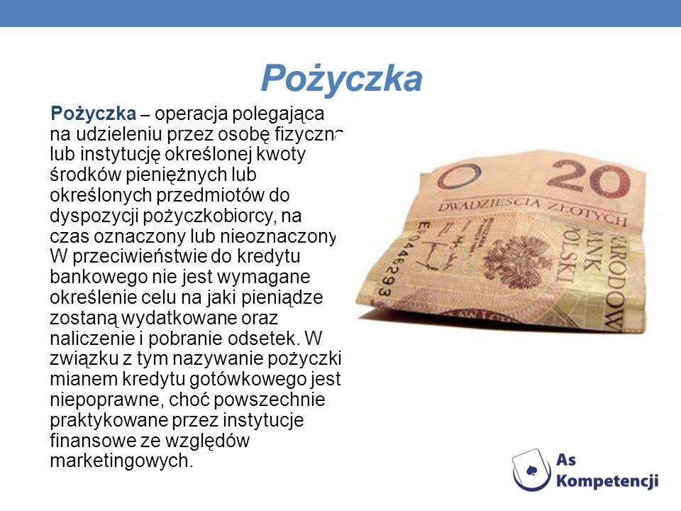Pożyczka Pożyczka – operacja polegająca na udzieleniu przez osobę fizyczną lub instytucję określonej kwoty środków pieniężnych lub określonych przedmi