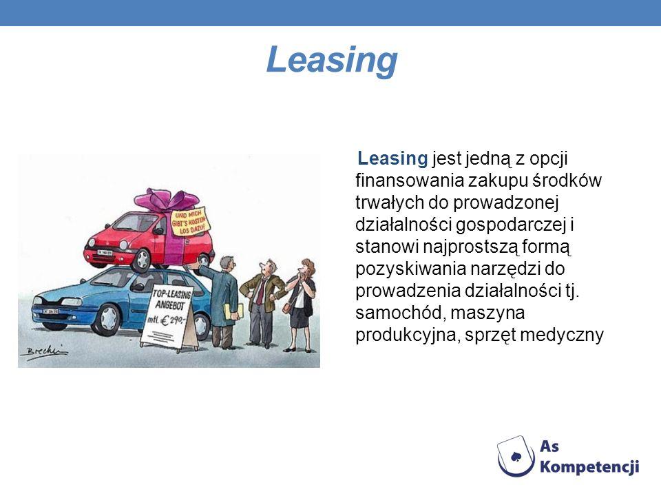 Leasing Leasing jest jedną z opcji finansowania zakupu środków trwałych do prowadzonej działalności gospodarczej i stanowi najprostszą formą pozyskiwa