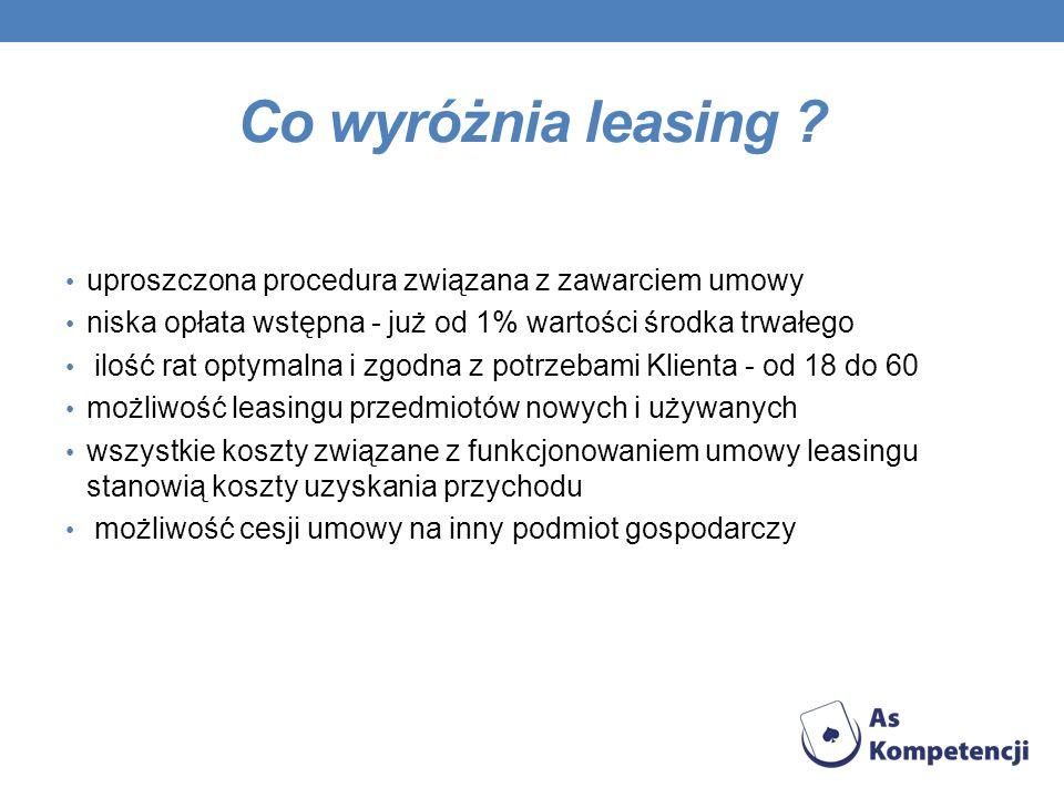 Co wyróżnia leasing ? uproszczona procedura związana z zawarciem umowy niska opłata wstępna - już od 1% wartości środka trwałego ilość rat optymalna i