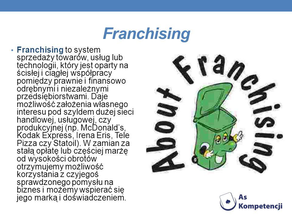 Franchising Franchising to system sprzedaży towarów, usług lub technologii, który jest oparty na ścisłej i ciągłej współpracy pomiędzy prawnie i finan