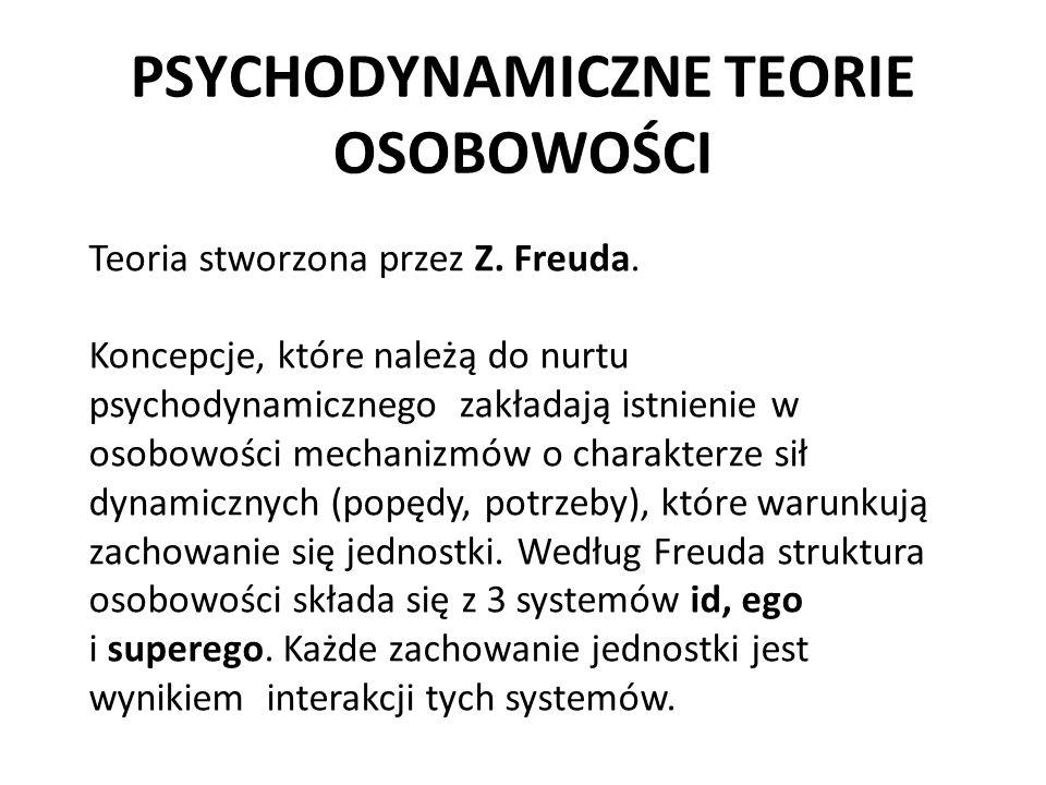 PSYCHODYNAMICZNE TEORIE OSOBOWOŚCI Teoria stworzona przez Z. Freuda. Koncepcje, które należą do nurtu psychodynamicznego zakładają istnienie w osobowo