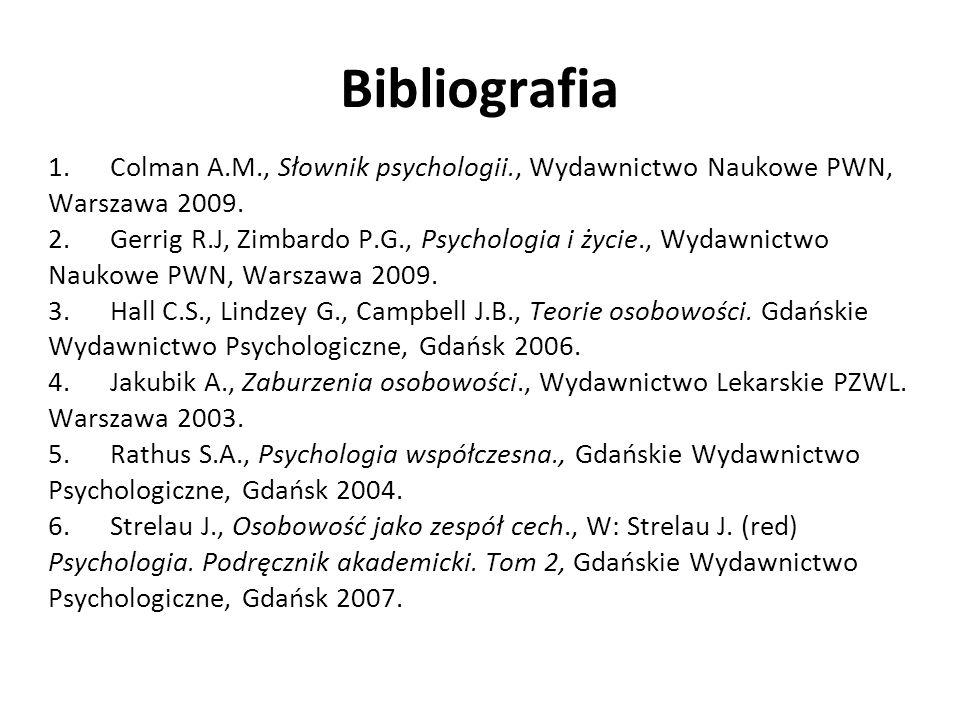 Bibliografia 1. Colman A.M., Słownik psychologii., Wydawnictwo Naukowe PWN, Warszawa 2009. 2. Gerrig R.J, Zimbardo P.G., Psychologia i życie., Wydawni