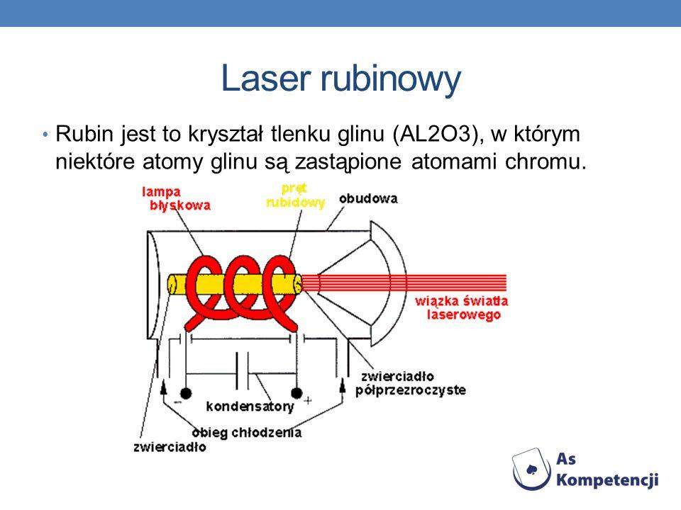Laser rubinowy Rubin jest to kryształ tlenku glinu (AL2O3), w którym niektóre atomy glinu są zastąpione atomami chromu.