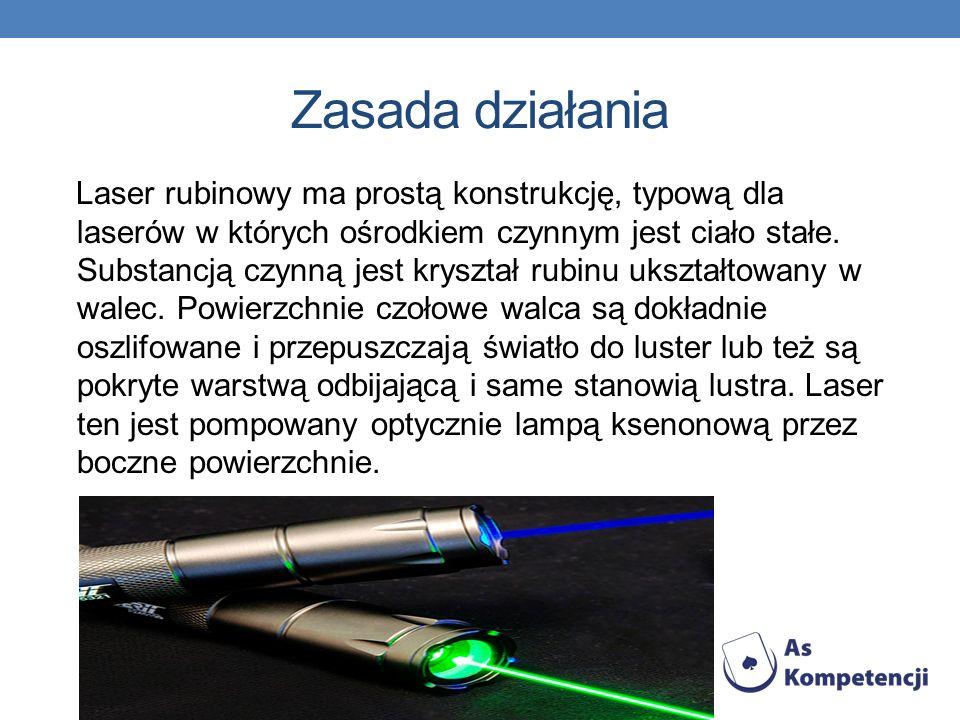 Zasada działania Laser rubinowy ma prostą konstrukcję, typową dla laserów w których ośrodkiem czynnym jest ciało stałe. Substancją czynną jest kryszta