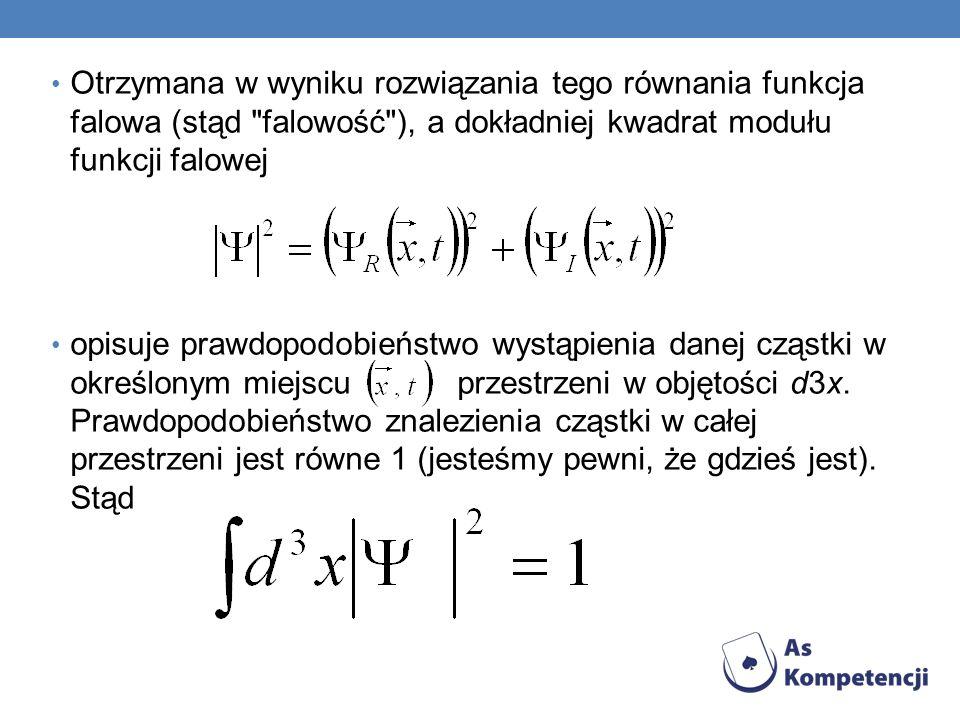 Otrzymana w wyniku rozwiązania tego równania funkcja falowa (stąd