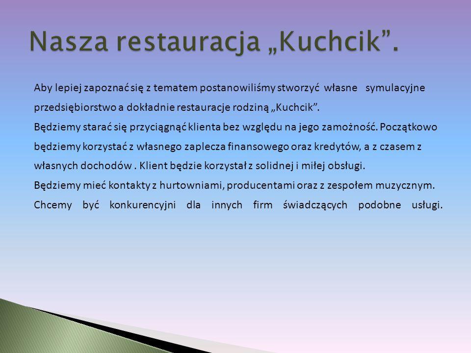 Aby lepiej zapoznać się z tematem postanowiliśmy stworzyć własne symulacyjne przedsiębiorstwo a dokładnie restauracje rodziną Kuchcik.