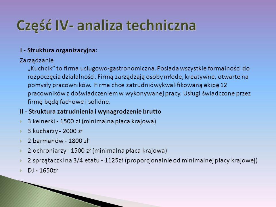 I - Struktura organizacyjna: Zarządzanie Kuchcik to firma usługowo-gastronomiczna.