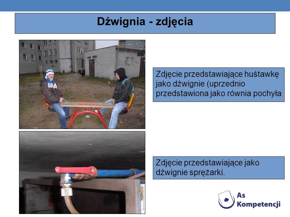 Dźwignia - zdjęcia Zdjęcie przedstawiające huśtawkę jako dźwignie (uprzednio przedstawiona jako równia pochyła Zdjęcie przedstawiające jako dźwignie s