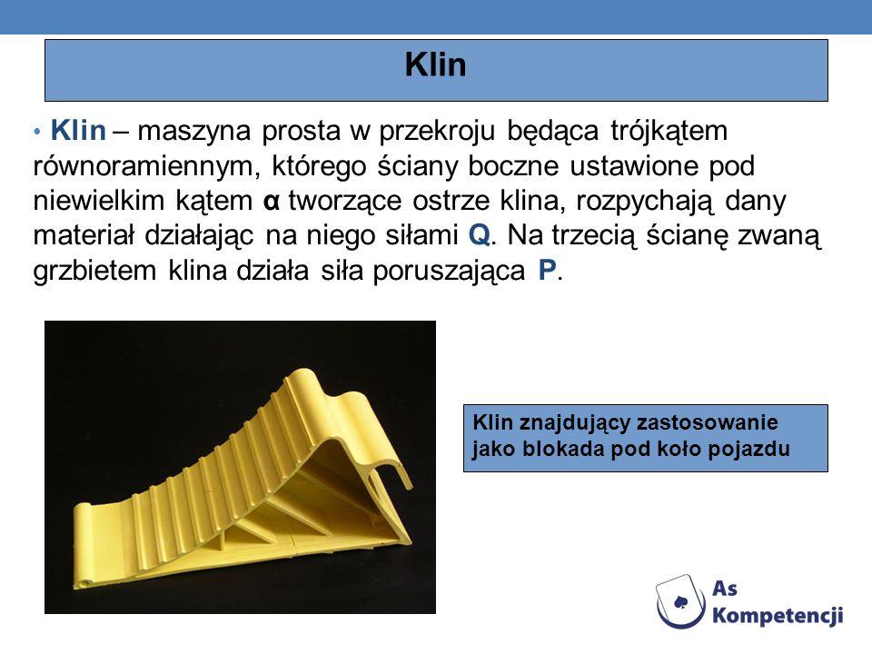 Klin Klin – maszyna prosta w przekroju będąca trójkątem równoramiennym, którego ściany boczne ustawione pod niewielkim kątem α tworzące ostrze klina,