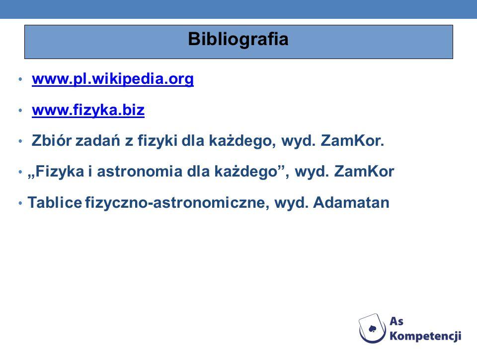 Bibliografia www.pl.wikipedia.org www.fizyka.biz Zbiór zadań z fizyki dla każdego, wyd. ZamKor. Fizyka i astronomia dla każdego, wyd. ZamKor Tablice f